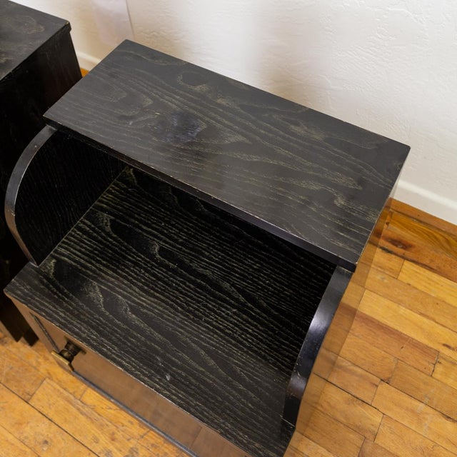 Mid Century Nightstands | Black and Brass | Huntley Furniture For Sale - Image 9 of 13