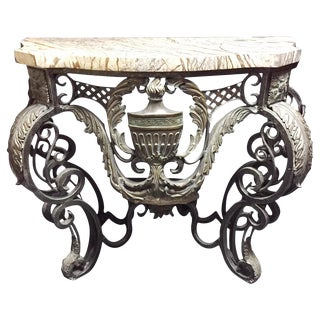 Italian Bronze and Patinated Metal Console Table For Sale