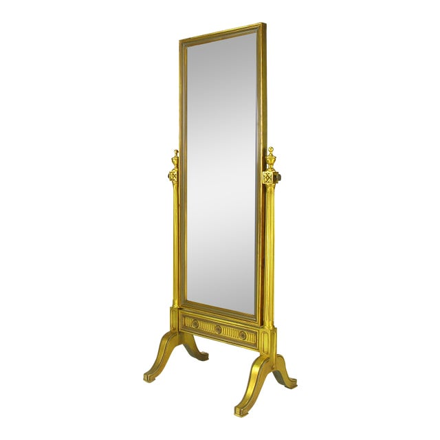 Gilt Wood Neoclassical Full Length Cheval Floor Mirror - Image 1 of 8