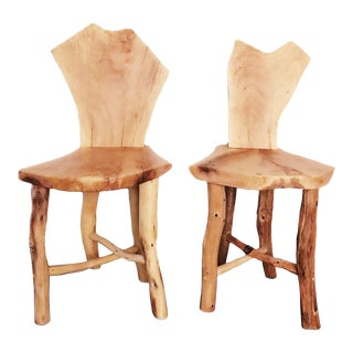 Solid Oak Wood Chairs- a Pair For Sale