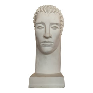 1980s Post Modern Plaster Male Bust Sculpture For Sale