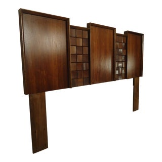 Mid Century American Made Sculpted Walnut Headboard For Sale