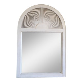 Off White Wood Fan Top Mirror For Sale