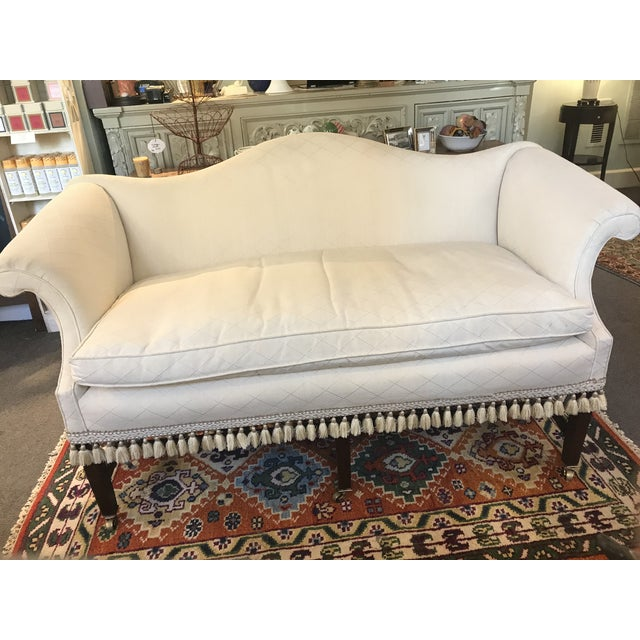 Beige Federal Camelback Mahogany Loveseat For Sale - Image 8 of 8