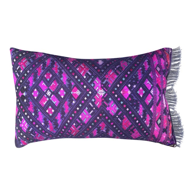 Magenta & Purple Tribal Embroidered Pillow - Image 1 of 6
