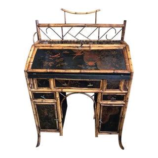 19th Century Boho Chic Bamboo Bureau Secretary Desk For Sale