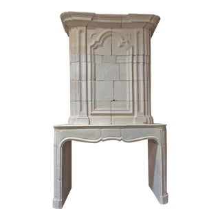 Antique Limestone Mantel with Trumeau For Sale