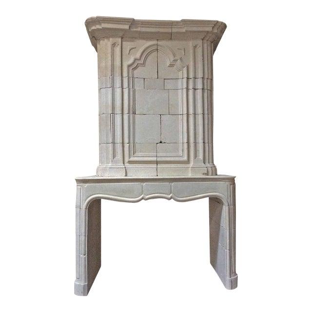 Antique Limestone Mantel with Trumeau For Sale