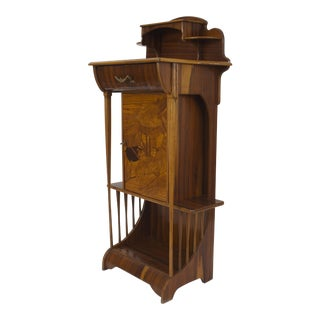 Late 19th Century French Art Nouveau Rosewood Narrow Cabinet For Sale