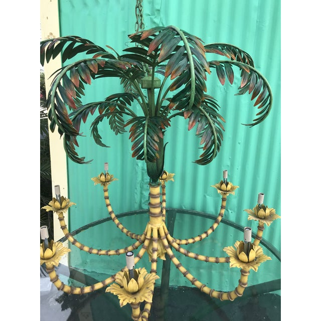 1990s Large Palm Tree Leaf Faux Bamboo Metal Chandelier For Sale - Image 5 of 13