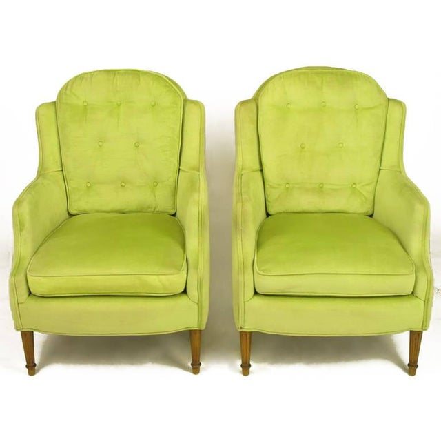 Pair of Chartreuse Yellow-Green Velvet Regency Lounge Chairs - Image 2 of 9