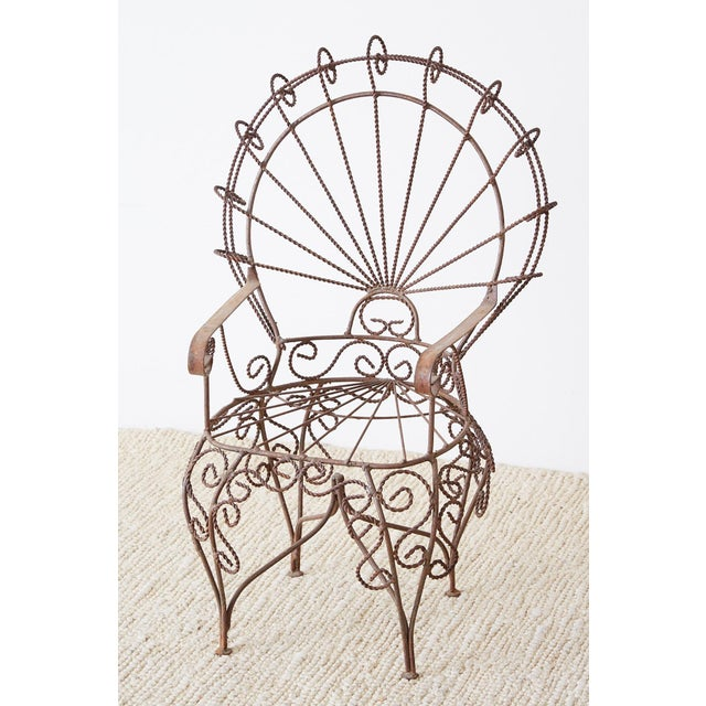 Pair of Salterini Iron Peacock Salesman Sample Chairs For Sale - Image 11 of 13