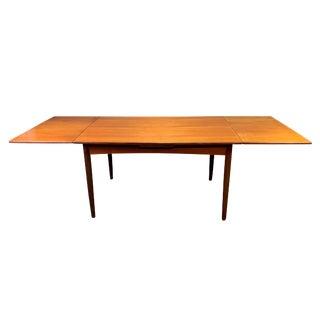 Vintage Danish Mid Century Modern Teak Draw Leaf Dining Table For Sale
