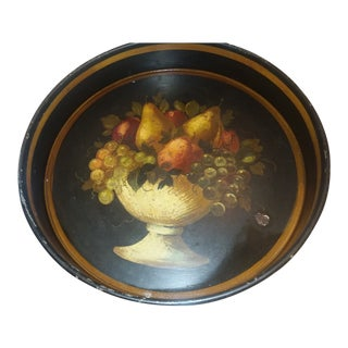 Vintage Toleware Signed Tray For Sale