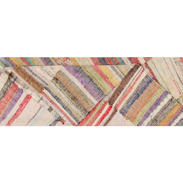 "Islamic Apadana - Vintage Multicolored Striped Turkish Flatweave Carpet, 4'10"" x 9'2"" For Sale - Image 3 of 5"