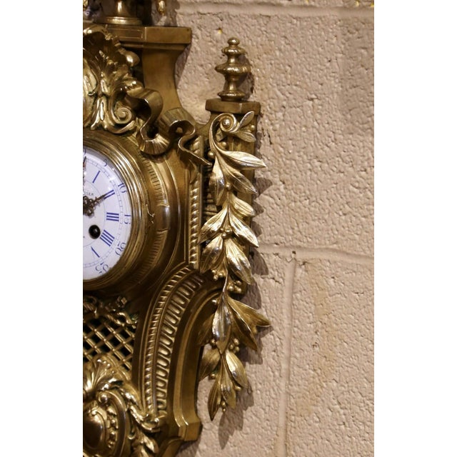 19th Century French Louis XVI Bronze Dore Cartel Wall Clock Signed Charpentier For Sale In Dallas - Image 6 of 10
