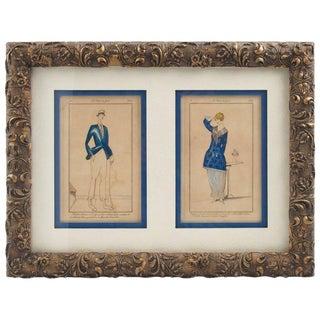 Les Années Folles 1920s Framed Colored Fashion Prints For Sale