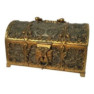Antique Art Nouveau German Bronze Jewelry Box For Sale