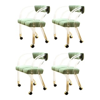 Chares Hollis Jones Modern Lucite Armchairs on Casters For Sale