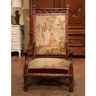 19th Century French Louis XIII Carved Walnut and Needlepoint Tapestry Armchair Preview