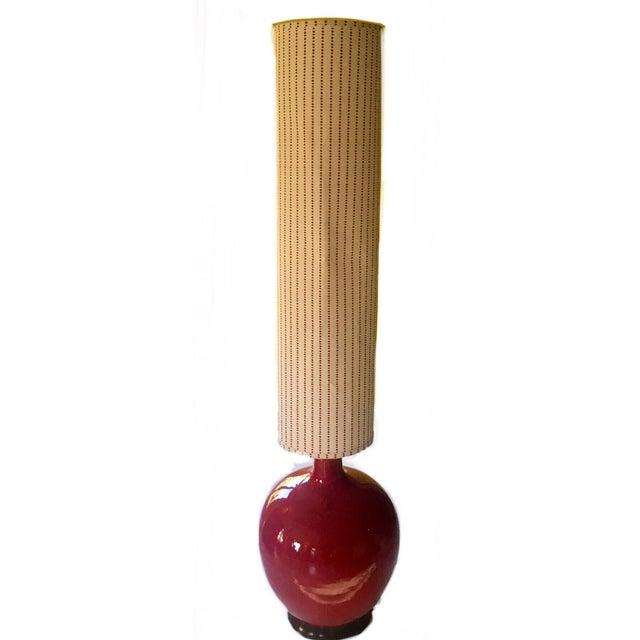 Mid-Century Red Glazed Ceramic Lamp - Image 7 of 9