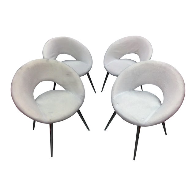 Oval White Velvet Modern Chairs- Set of 4 - Image 1 of 5