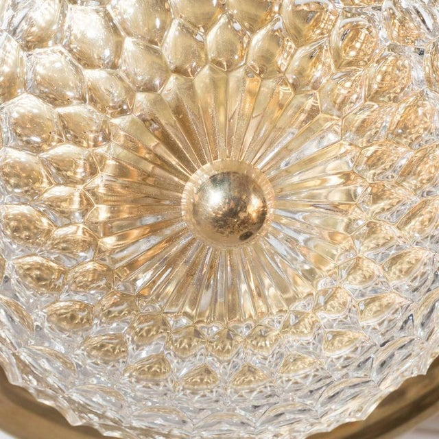 1950s Mid-Century Modernist Crystal Dome and Brass Flush Mount Chandelier For Sale - Image 5 of 9