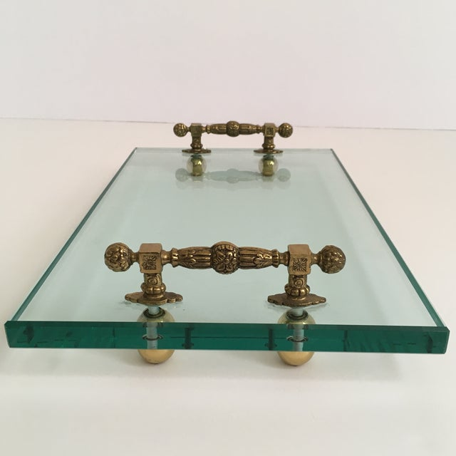Late 20th Century Late 20th Century Hollywood Regency Glass and Brass Tray For Sale - Image 5 of 10