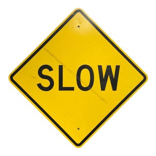 Vintage Reflective Slow Traffic Caution Construction Sign For Sale