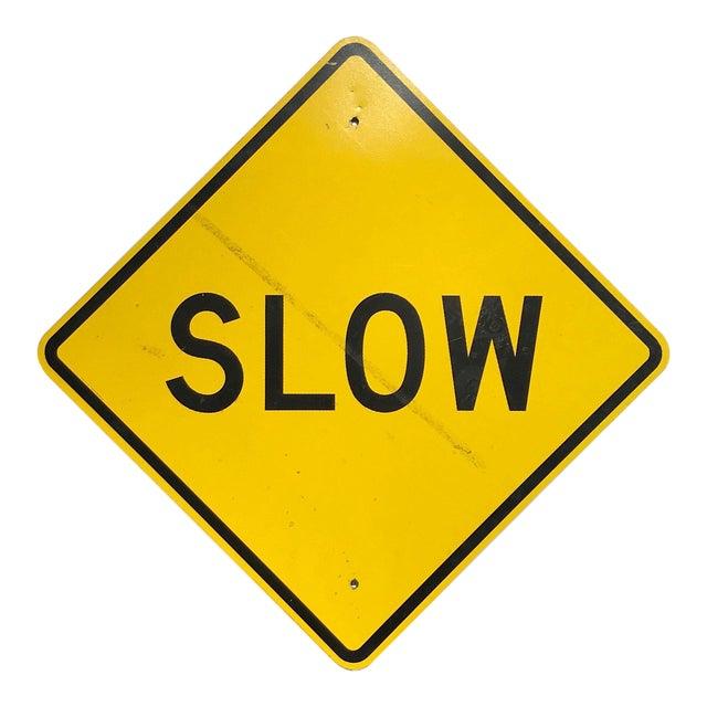 Vintage Reflective Slow Traffic Caution Construction Sign For Sale