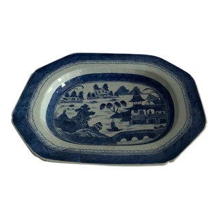 Antique 19th Century Chinese Export Porcelain Canton Blue and White Porcelain Plate For Sale