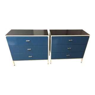 1950s Mid-Century Modern George Nelson for Herman Miller Blue Steel Frame Chests of Drawers For Sale