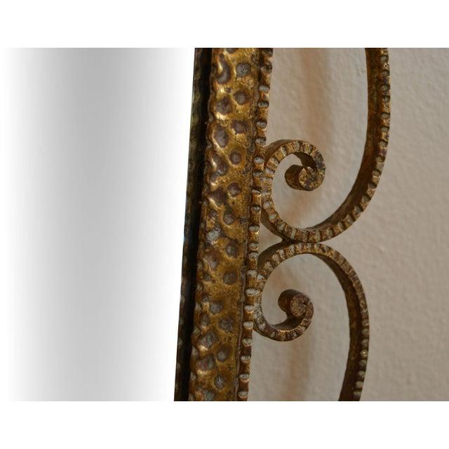 Art Deco Style Italian Gilt Wrought Iron Wall Mirror by Pier Luigi Colli For Sale - Image 9 of 12