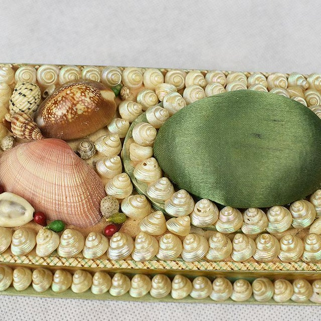 Shell Encrusted Rectangular Keepsake Box With Green Silk Lid For Sale - Image 4 of 7