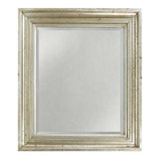 Vintage Beveled Mirror W/ a Warm Silver-Gilt Molded Frame For Sale