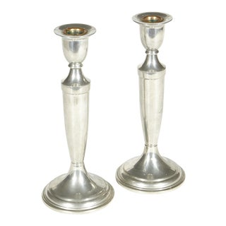 Pewter Tall Candlesticks, Pair For Sale