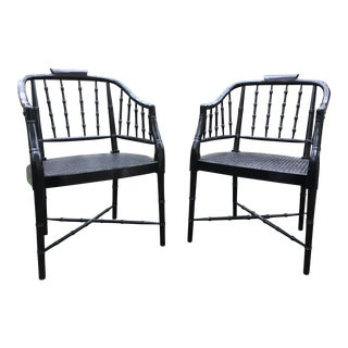 1960s Vintage Chippendale Faux Bamboo Black Barrel Back Chairs- A Pair For Sale