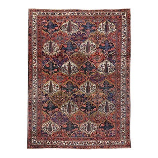 Antique Persian Bakhtiari Rug with Four Seasons Garden Design