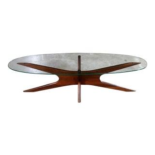 Adrian Pearsall Walnut and Glass Jacks 893-Tgo Oval Coffee Table Mid Century Modern For Sale