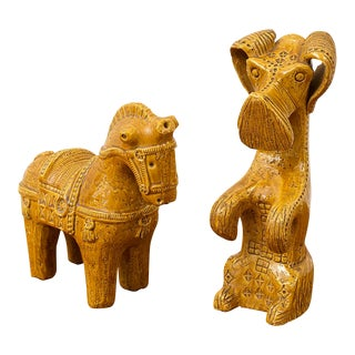 Ceramic Dog and Horse by Aldo Londi in Rare Mustard Glaze for Bitossi, Italy, 1960s For Sale