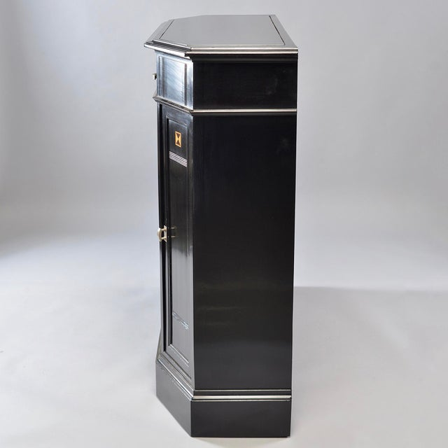 Art Deco Ebonized Cabinet With Aluminum Trim and Glass Doors For Sale - Image 9 of 11