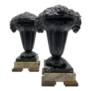 Art Deco Bronze and Marble Urns - a Pair For Sale