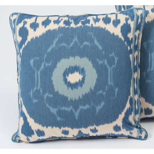 2010s Schumacher Pillow in Samarkand Ikat Print For Sale - Image 5 of 6