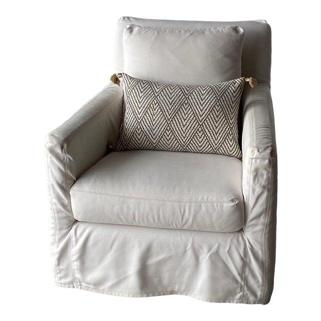 Kapas Slipcovered Swivel Chair For Sale