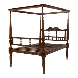 19th Century Anglo Indian British Colonial Full Poster Bedframe For Sale