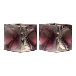 Rudolf Jurnikl for Rudolfova Glassworks Mid-Century Czech Art Glass Candle Holders - A Pair