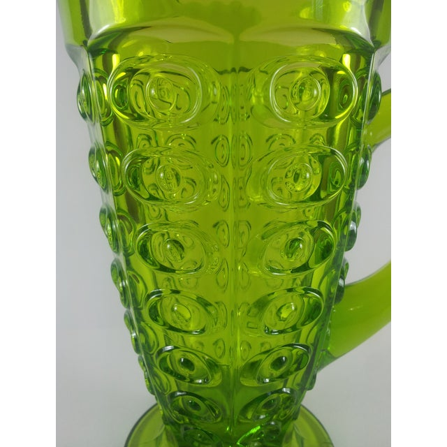 Viking Glass Company Viking Green Art Glass Bullseye Pitcher For Sale - Image 4 of 6