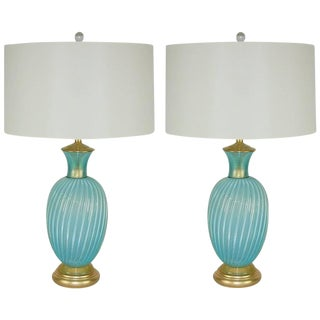 Seguso Murano Glass Table Lamps Blue Gold For Sale