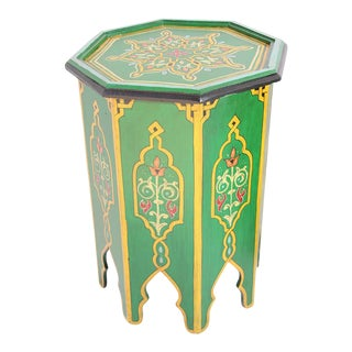 Green Moroccan Hand Painted Pedestal Table For Sale