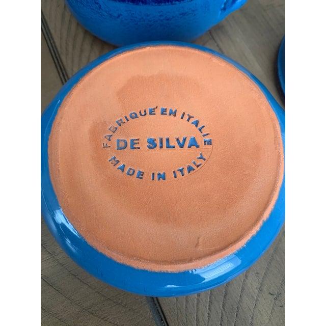Vintage DeSilva Rustic Painted & Glazed Terra Cotta Soup Bowls With Handles- Set of 5 For Sale - Image 11 of 12